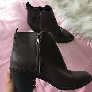 F21 dark brown booties